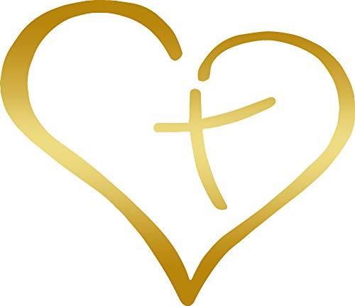 Christian Quote Cross Inside The Heart (METALLIC GOLD) (set of 2) Premium Waterproof Vinyl Decal Stickers for Laptop Phone Accessory Helmet Car Window Bumper Mug Tuber Cup Door Wall Decoration