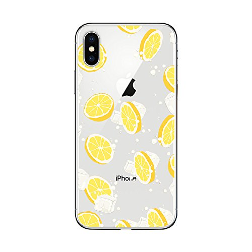 newest 8ebd7 8dbec iPhone X Case/iPhone Xs Case,Blingy's Nice Fruit Style Transparent Clear  Protective TPU Rubber Case Compatible for iPhone X and iPhone Xs (Lemonade)