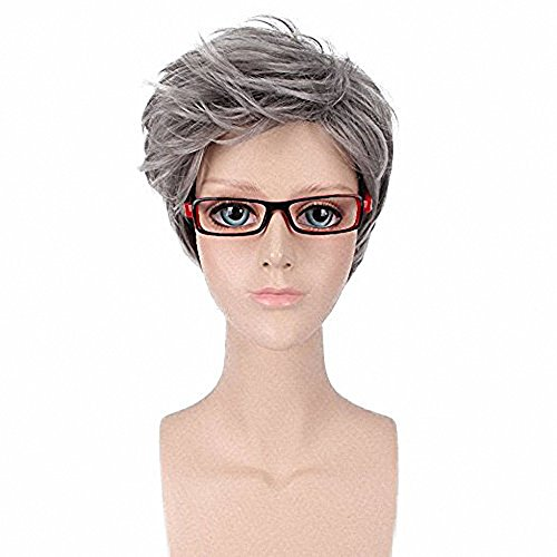 - GOOACTION Fashion Short Fluffy Gray Wig Cosplay Synthetic Hair Granny Grey Stylish For Women and Ladies