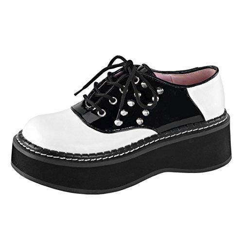 Womens Black and White Saddle Shoes Spikes Vegan Leather Lace Up 2 In Platform Size: 11 (Shoe Platform Lace Saddle Up)