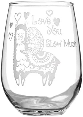 Stemless Wine Glass 17oz | With Permanent Etching | Fun Gifts | Dishwasher Safe (Llama Love)