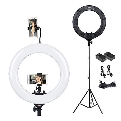 Ring Light Kit, Tolifo 18in LED Ring Light with Stand and Phone Holder, Battery Pack for Travel Makeup, Video Outdoor (3200K-5600K Bicolor Dimmable) by TOLIFO