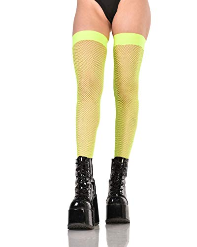 iHeartRaves Neon Green Fishnet Thigh High Stockings (One Size) -