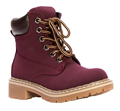 OLIVIA-K-Girls-Combat-Lace-Up-Padded-Outdoor-Work-Shoes-Ankle-Short-BootsToddler-Little-Girl
