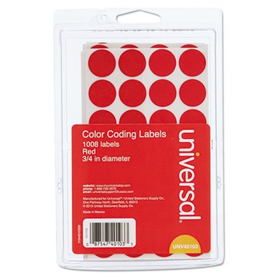 Permanent Self-Adhesive Color-Coding Labels, 3/4