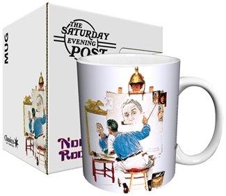 Norman Rockwell 11 Oz Ceramic Mug- Triple Self Portrait