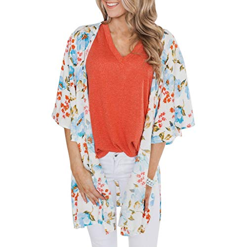 (Fashion Womens Ladies Floral Kimono Cardigan Long Blouse Loose Tops Outwear Light Blue)