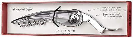 L'Atelier du vin – Soft Machine Crystal – Sacacorchos de diseño, hecho de acero, aleación cromada y policarbonato - 12.5 cm x 3 cm x 1.5 cm - Fácil de manejar - Extracción fluida