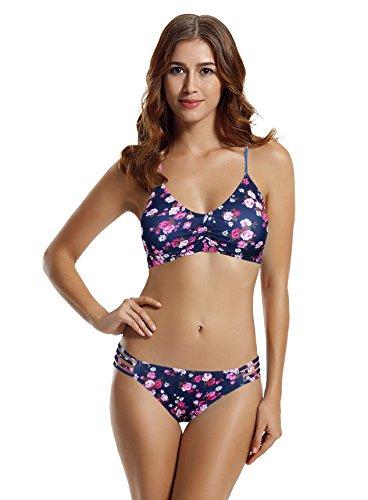 Full Coverage Halter Bikini - zeraca Women's Strap Side Bottom Halter Racerback Bikini Bathing Suits (FBA) (L14, 26 Floral)