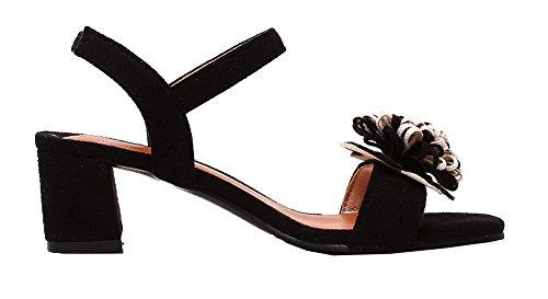 Toe Frosted Sandals VogueZone009 CCALP013136 Heels Open Black Kitten Elastic Solid Women w00SgTq
