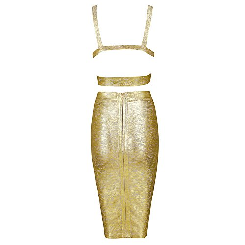 Gold Bandage Color HLBandage Piece Pure Length Women Dress Set Knee 2 788wPqv