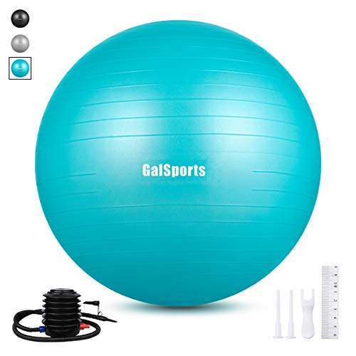 GalSports Extra Thick Exercise Ball, Anti-Burst Yoga Ball Chair Supports 2206lbs with Quick Pump,...