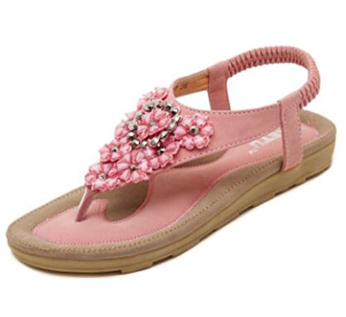 Ohmais Mädchen damen Frauen Flattie Sandalen Flache Schuhe Flops flache Sandalen Sommer mit Perlen Böhmen Pink