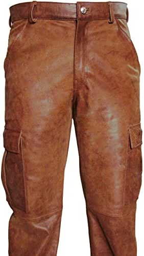 MENS REAL BROWN LEATHER 6 POCKETS CARGO PANTS JEANS FULLY LINED - (CARGO2 BROWN)