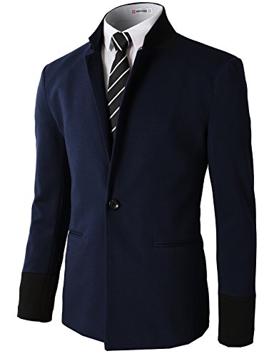H2H Men's 1 Button Center Vent Wool Blend Blazer Jacket Navy US XL/Asia 2XL (CMOBL014)