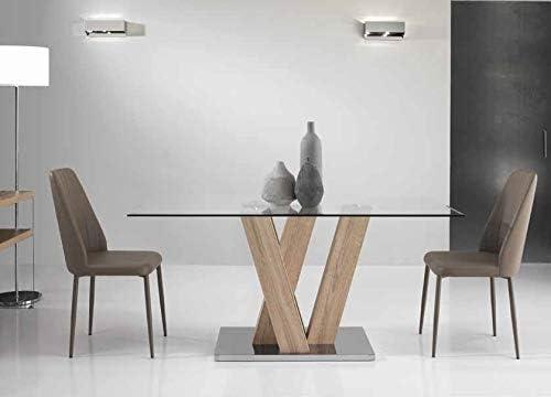Tavolo Cristallo E Acciaio.Mocada Ennio Tavolo Fisso Design 160x90 Cristallo Legno E