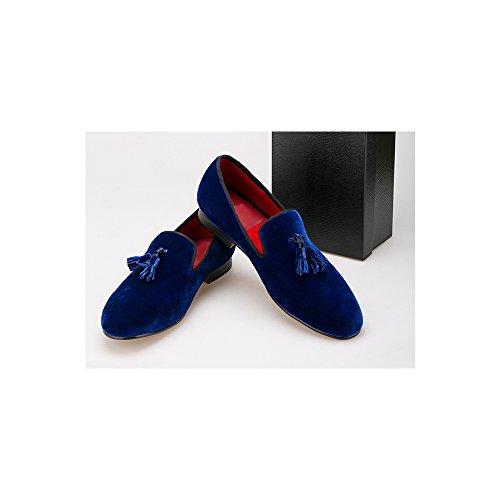 38 Stile Tassel OCHENTA Scarpa Gli Uomini Mocassini Royal Blue su Velluto Velvet Size Scivolare Britannico Appartamento con EU di 44 wOXaSxqO