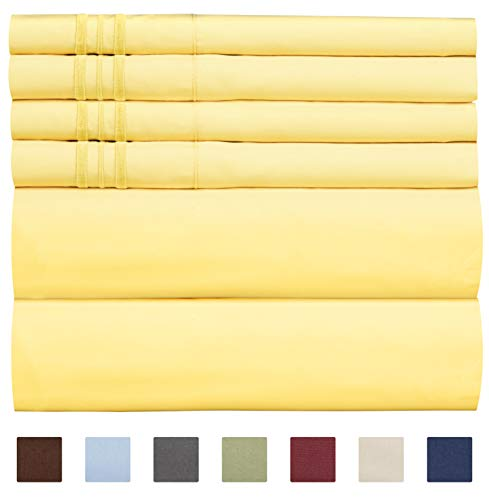 CGK Unlimited Extra DEEP Pocket Sheets - Super DEEP Pocket Bed Sheet Set - Deep Fitted Flat Sheet - Deep Queen Sheets Yellow - Queen - Flat Sheet Yellow Queen