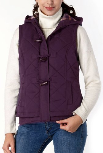 BGSD Women's Quilted Hooded Vest - Purple S