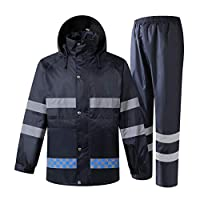 Rain Suit Waterproof Set Hiking Rainwear Waterproof Breathable Large Outdoor Work Raincoats Men Women Rain Suit with Reflective Strip for Camping Motorcycle (Fishing Rain Jacket with Pants) Lightwei