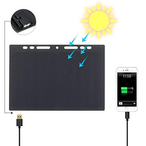 (Lixada 10W High Power Paper Shaped Mini Portable Monocrystalline Silicon Solar Panel Charger USB Port for Cell Phone Camping Riding Climbing Travel Outdoor Activity)