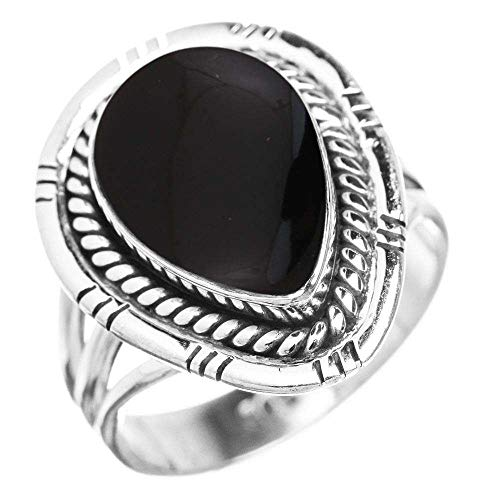 (Genuine Black Onyx 10x14mm Pear & .925 Silver Plated Handmade Solitaire Ring (Size-10))