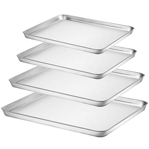 (Baking Sheet Set of 4, Fungun Stainless Steel Baking Pans Tray Cookie Sheet, Non Toxic & Healthy Duty,Superior Mirror, Dishwasher Safe& Easy Clean)