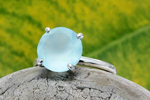 Aqua Chalcedony Ring, Small Gemstone Ring, Silver Ring, Round Cut Ring, Prong Ring, Aqua Ring, Blue - Gemstones Round Chalcedony