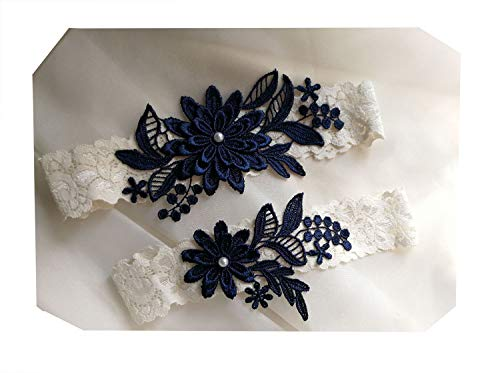 Dasiy wedding garters for bride bridal lace garter set hand sewn pearls(navy) ()