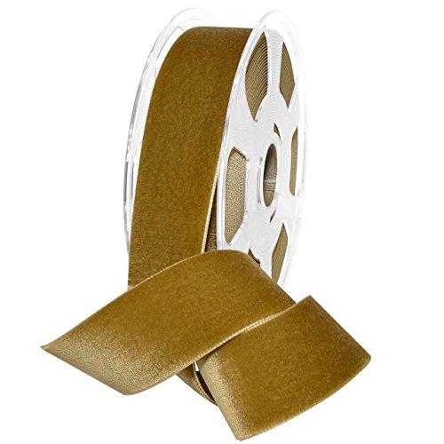 Gold Velvet Ribbon - Morex Ribbon 01240/10-533 Nylvalour Velvet Ribbon, Antique Gold, 1 1/2