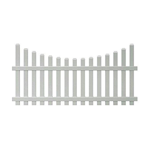 4 ft. x 8 ft. Vinyl Glendale Scalloped Top Spaced Picket Fence Panel with 3 in. Dog Ear Pickets - Unassembled (Scalloped Fencing Vinyl)