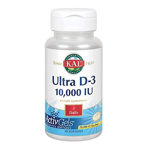 KAL Ultra Vitamin D-3 10000 IU | Liquid-Fill ActivGels | Healthy Immune Function & Bone Support | Soy Free | 90 Softgels