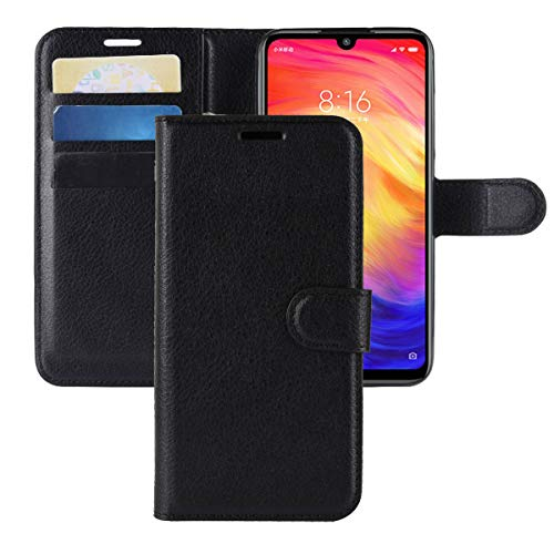 Xiaomi Redmi Note 7 Case,Redmi Note 7 Pro Case,CH-IC Protective Shockproof PU Leather Wallet Flip Folio Cover with Kickstand Card Holders Magnetic Closure for Xiaomi Redmi Note 7/Note 7 Pro (Black)