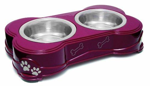 Loving Pets Dolce Diner Dog Bowl, Medium, 1 Quart, Merlot ( 2 Bowl Set )