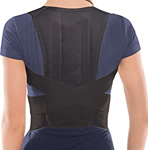 """TOROS-GROUP Posture Corrector Brace - Back Shoulder Clavicle Support - X-Small, Waist/Belly 23.5"""" - 27.5"""" Black"""