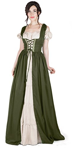 Boho Set Medieval Irish Costume Chemise and Over Dress (XXS/XS, Olive)]()