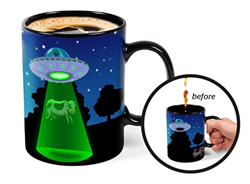 BigMouth Inc Color Changing UFO Mystery Mug, Holds 16oz, Ceramic Cup for Coffee and Tea with Handle, Funny Novelty - Changing Mug