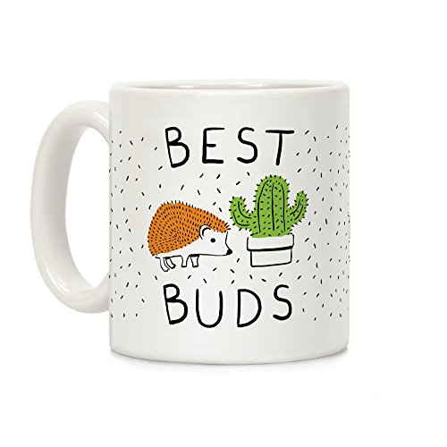 LookHUMAN Best Buds Hedgehog Cactus White 11 Ounce Ceramic Coffee Mug