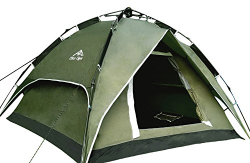 CHO OYU Outdoor Double Layer Tent,Camping Tent,2-3 Persons Tent,Automatic Tent,Army Green