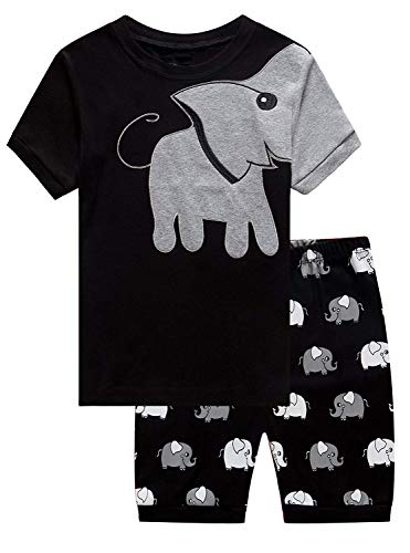Little Boys Pajamas Cute Elephant Costume Sleepwear PJS 100% Cotton Toddler Short Set Black for 3T Kids]()