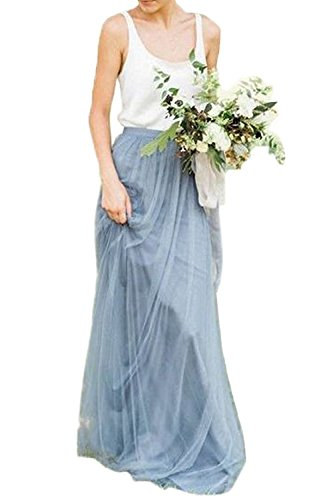 Future Girl Women's Dirty Blue Maxi Skirts High Waist Holiday Formal Skirt (Dirty Blue-L) by Future Girl
