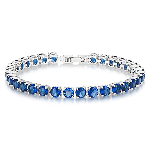 Simulated Sapphire Tennis Bracelet 5mm Round Cut Silver over Brass 7 inch