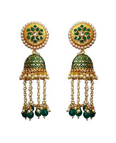 Babosa Sakhi Meenakari Jhumki Earring Indian Bollywood Rajasthani Jhumka Style Pearl Hangings with Green Drops And Polki Tops Traditional Dangler BBE51