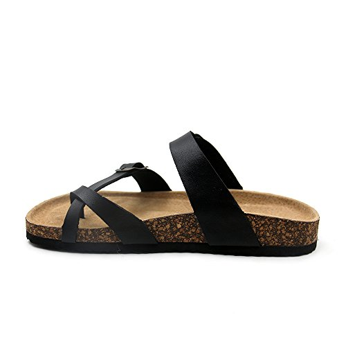 Journei Flat For Sandals Women Slides Girls Strap Adjustable Slippers Black Men ffqxrwSPT