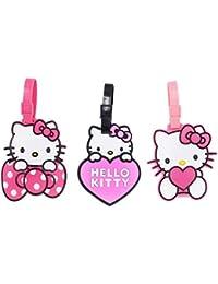Set of 3 - Super Cute Kawaii Cartoon Silicone Travel Luggage ID Tag for Bags (Hello Kitty 1)