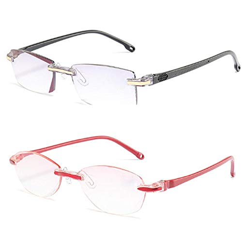 OeyeO Anti-Blue Super Light Comfort TR90 Diamond Trimming Reading Glasses for Men and Women 2 Pairs OEY035 +1.0