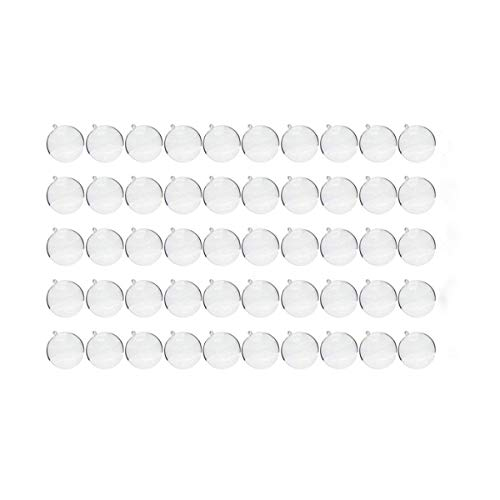 Saim 70mm Clear Plastic Fillable Ball Ornament, DIY Bath Bomb Molds Pack of 50 Set