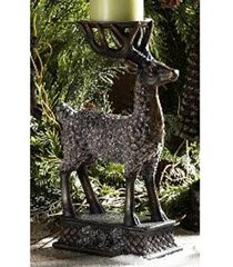 (12.4 Inch Snowy Deer Pillar Holder)