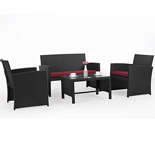 Cloud Mountain 4 Piece Rattan Furniture Set Patio Conversation Set Sectional Wicker Rattan Furniture Outdoor Garden Lawn Sofa Cushioned Set, Black Rattan with Red Cushions (Furniture Set Outside)