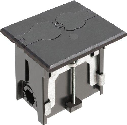 Arlington FLBAF101BL-1 Adjustable Floor Box Kit with Outlet and Flip Plate, for Installed Floors, 1-Gang, Black, 1-Pack